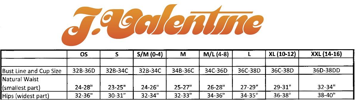J. Valentine Size Chart